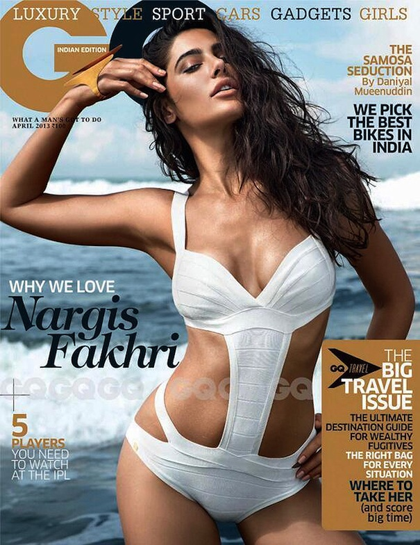 Hot Naregis Fakhri in Bikini on GQ Cover Picture