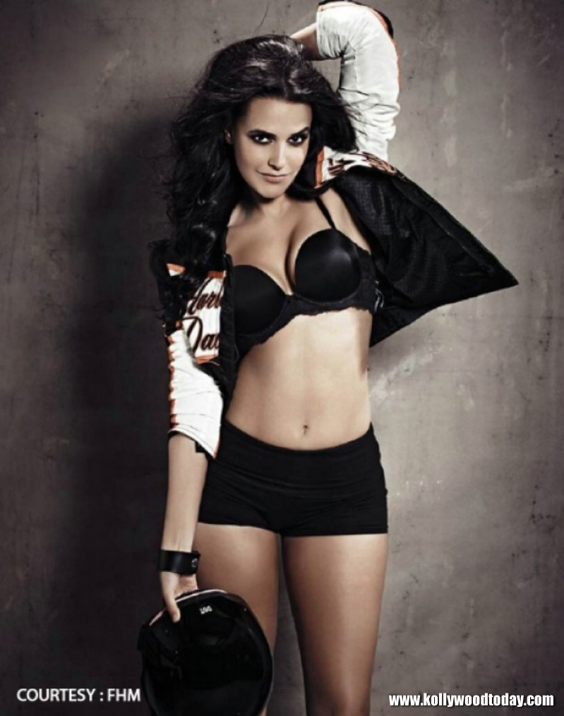 Neha Dhupia Wearing Bra and shorts picture